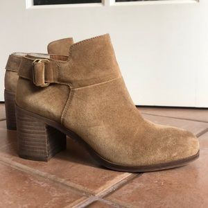 Franco Sarto Suede Buckle Ankle Booties